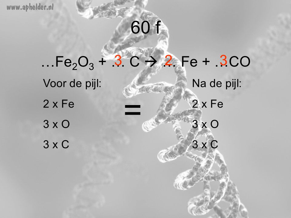 = 60 f …Fe2O3 + … C  … Fe + …CO 3 2 3 Voor de pijl: 2 x Fe 3 x O