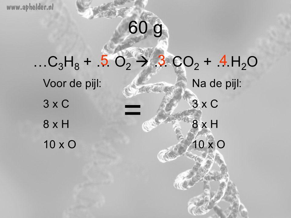 = 60 g …C3H8 + … O2  … CO2 + …H2O 5 3 4 Voor de pijl: 3 x C 8 x H