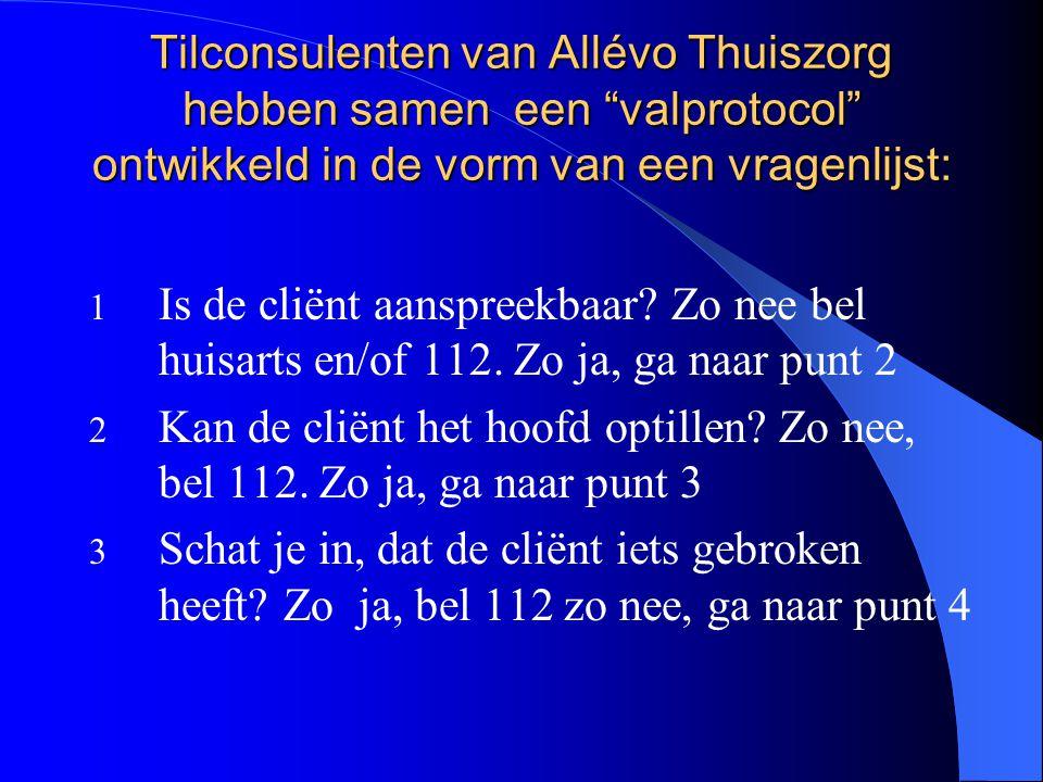 Tilconsulenten van Allévo Thuiszorg hebben samen een valprotocol ontwikkeld in de vorm van een vragenlijst: