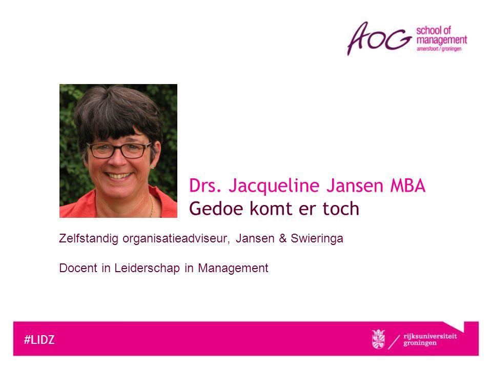 Drs. Jacqueline Jansen MBA Gedoe komt er toch