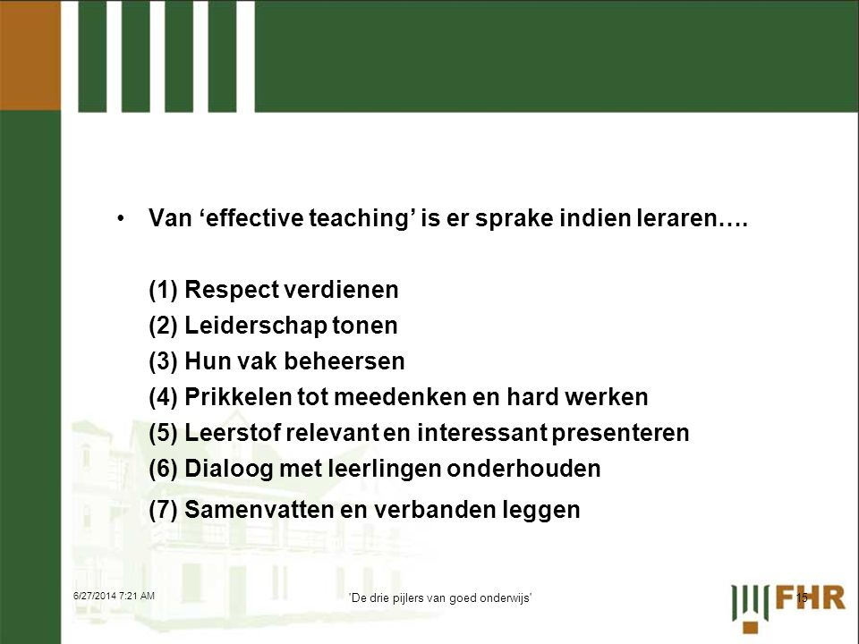 De drie pijlers van goed onderwijs