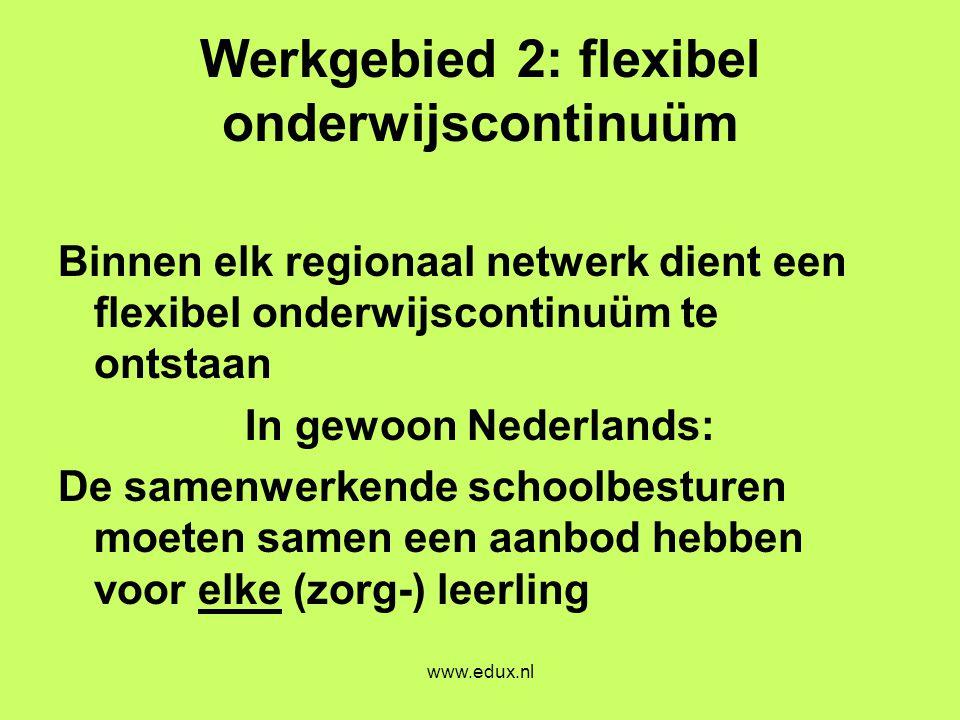 Werkgebied 2: flexibel onderwijscontinuüm