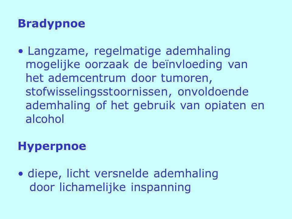 Bradypnoe Langzame, regelmatige ademhaling. mogelijke oorzaak de beïnvloeding van. het ademcentrum door tumoren,