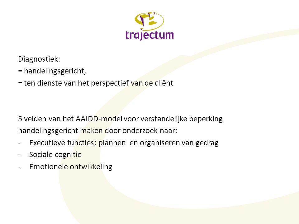 Diagnostiek: = handelingsgericht, = ten dienste van het perspectief van de cliënt. 5 velden van het AAIDD-model voor verstandelijke beperking.
