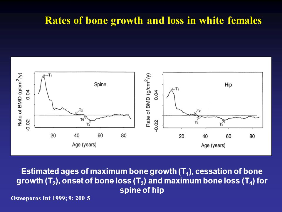 Rates of bone growth and loss in white females