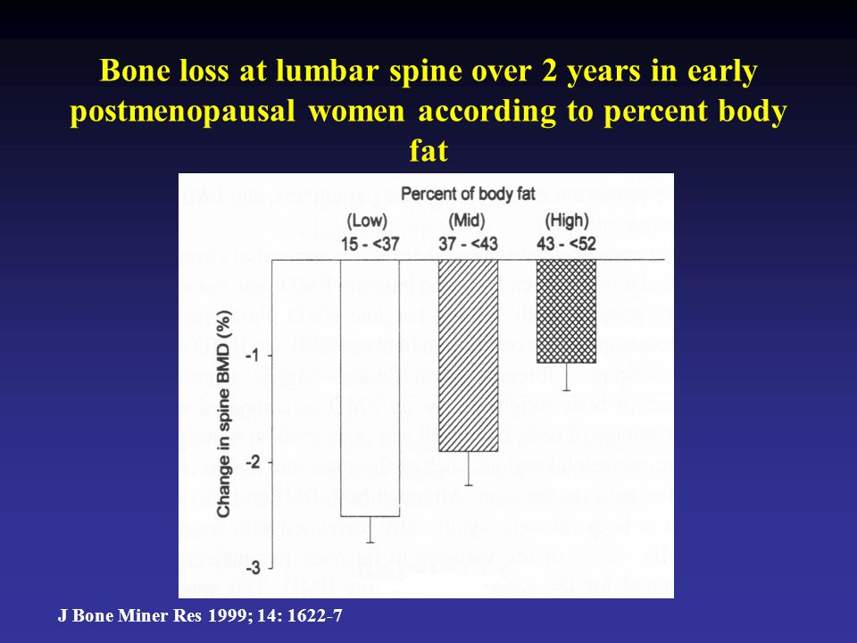 Bone loss at lumbar spine over 2 years in early postmenopausal women according to percent body fat