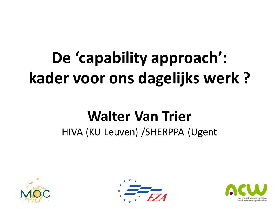 De 'capability approach': kader voor ons dagelijks werk