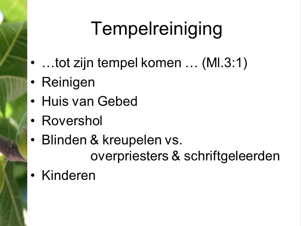 Tempelreiniging …tot zijn tempel komen … (Ml.3:1) Reinigen