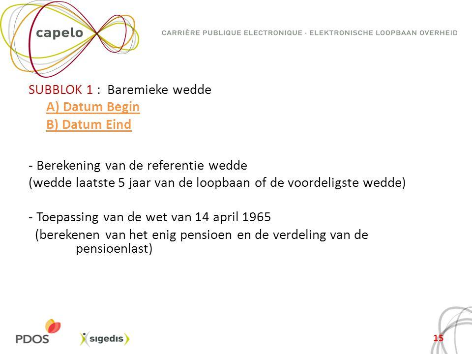 SUBBLOK 1 : Baremieke wedde