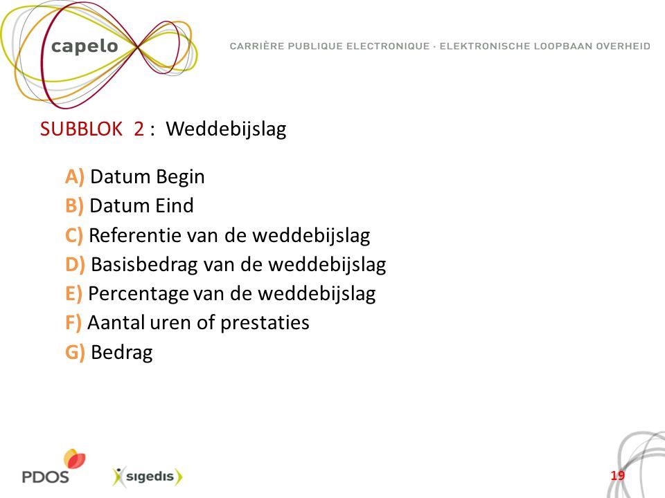 SUBBLOK 2 : Weddebijslag A) Datum Begin B) Datum Eind C) Referentie van de weddebijslag D) Basisbedrag van de weddebijslag E) Percentage van de weddebijslag F) Aantal uren of prestaties G) Bedrag