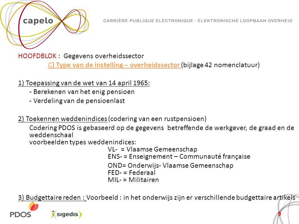 HOOFDBLOK : Gegevens overheidssector C) Type van de instelling – overheidssector (bijlage 42 nomenclatuur) 1) Toepassing van de wet van 14 april 1965: - Berekenen van het enig pensioen - Verdeling van de pensioenlast 2) Toekennen weddenindices (codering van een rustpensioen) Codering PDOS is gebaseerd op de gegevens betreffende de werkgever, de graad en de weddenschaal voorbeelden types weddenindices: VL- = Vlaamse Gemeenschap ENS- = Enseignement – Communauté française OND= Onderwijs- Vlaamse Gemeenschap FED- = Federaal MIL- = Militairen 3) Budgettaire reden : Voorbeeld : in het onderwijs zijn er verschillende budgettaire artikels