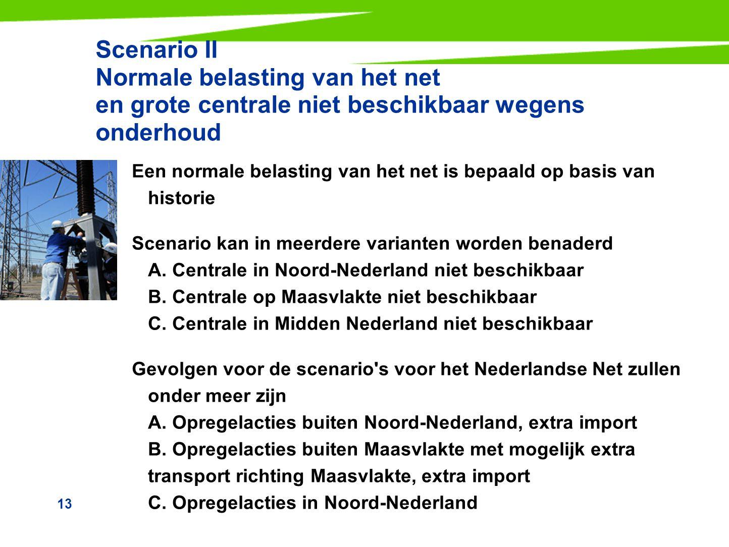 Scenario II Normale belasting van het net en grote centrale niet beschikbaar wegens onderhoud