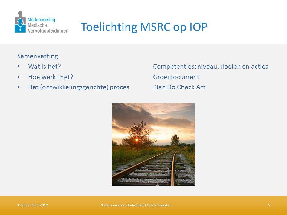 Toelichting MSRC op IOP