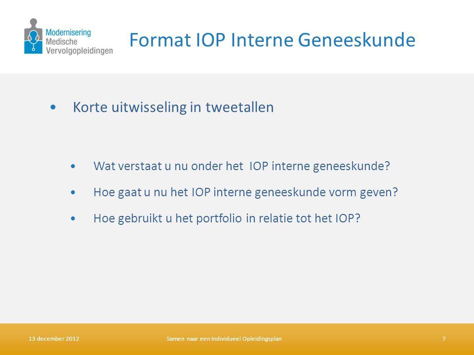 Format IOP Interne Geneeskunde