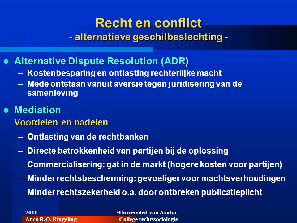 Recht en conflict - alternatieve geschilbeslechting -