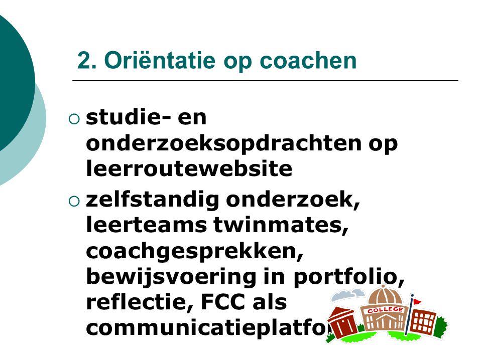 2. Oriëntatie op coachen studie- en onderzoeksopdrachten op leerroutewebsite.
