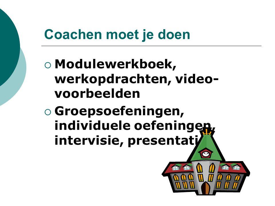 Coachen moet je doen Modulewerkboek, werkopdrachten, video-voorbeelden