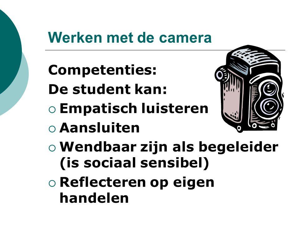 Werken met de camera Competenties: De student kan: Empatisch luisteren