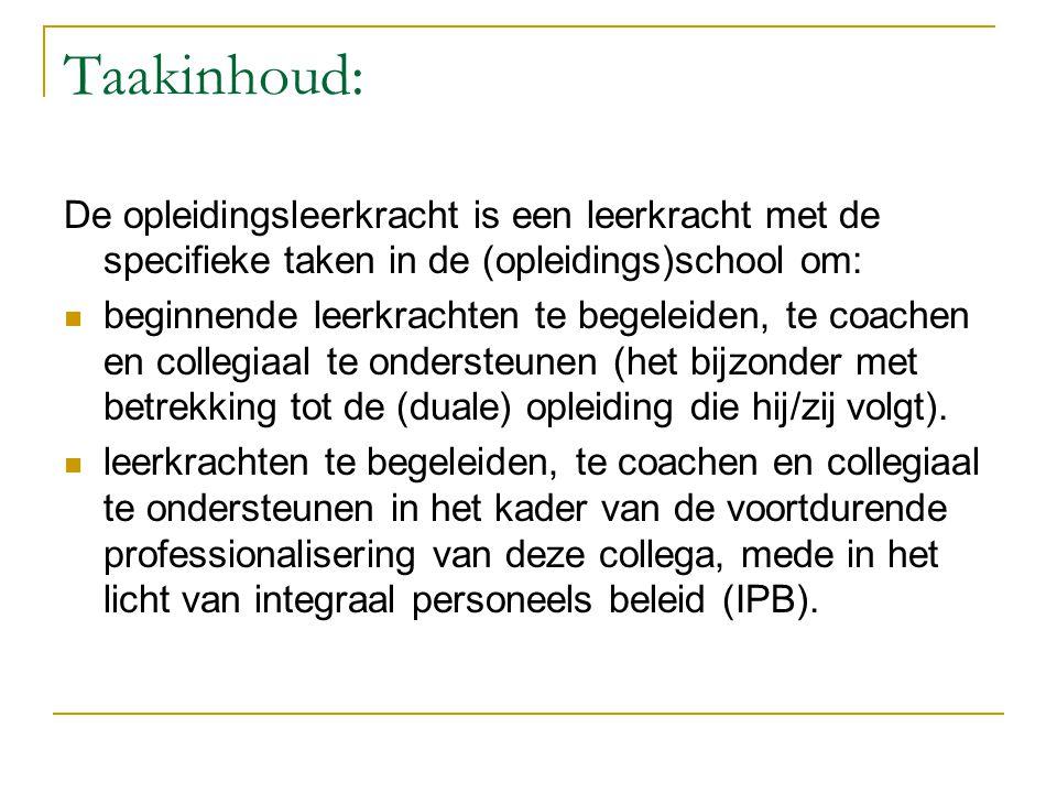 Taakinhoud: De opleidingsleerkracht is een leerkracht met de specifieke taken in de (opleidings)school om: