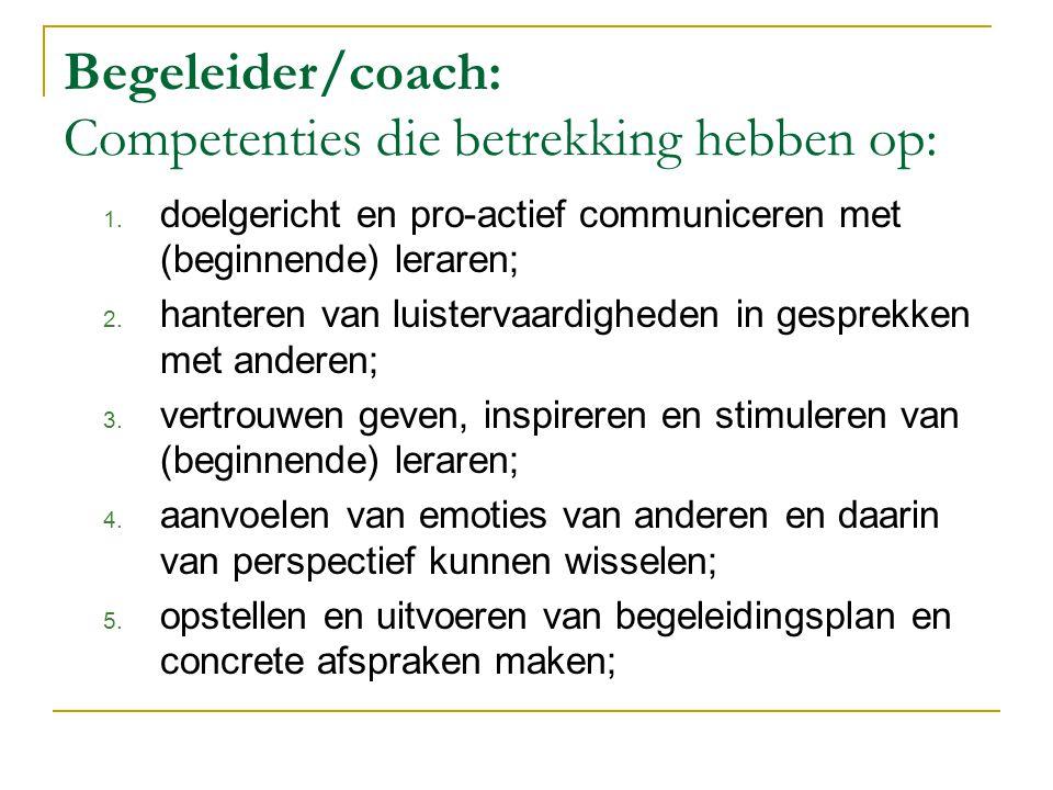Begeleider/coach: Competenties die betrekking hebben op: