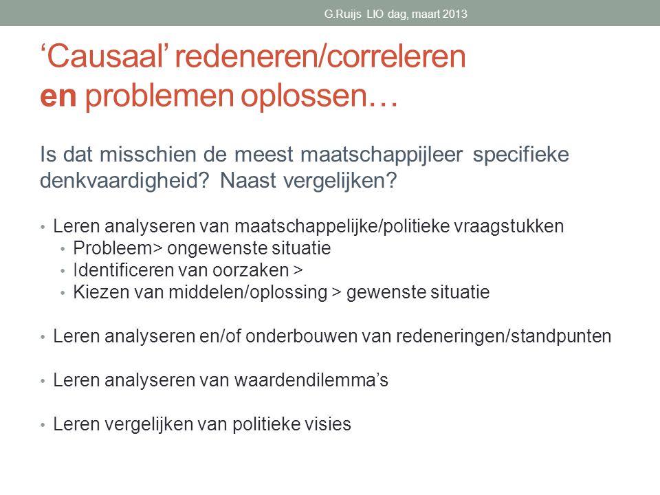 'Causaal' redeneren/correleren en problemen oplossen…