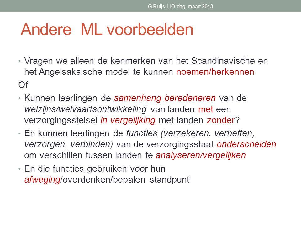 G.Ruijs LIO dag, maart 2013 Andere ML voorbeelden.