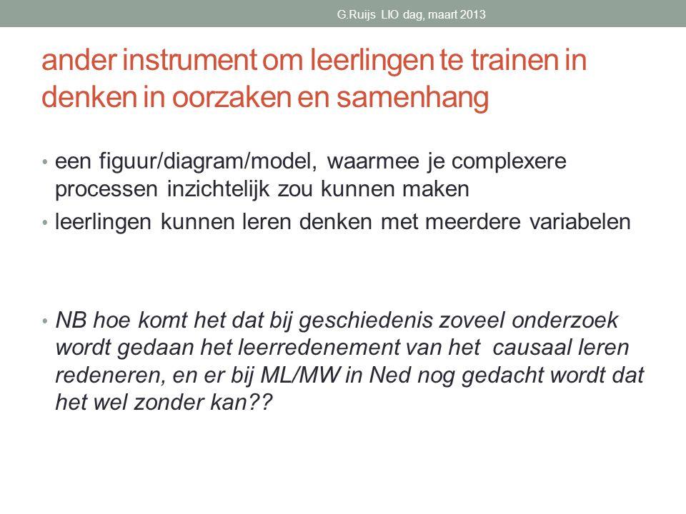 G.Ruijs LIO dag, maart 2013 ander instrument om leerlingen te trainen in denken in oorzaken en samenhang.