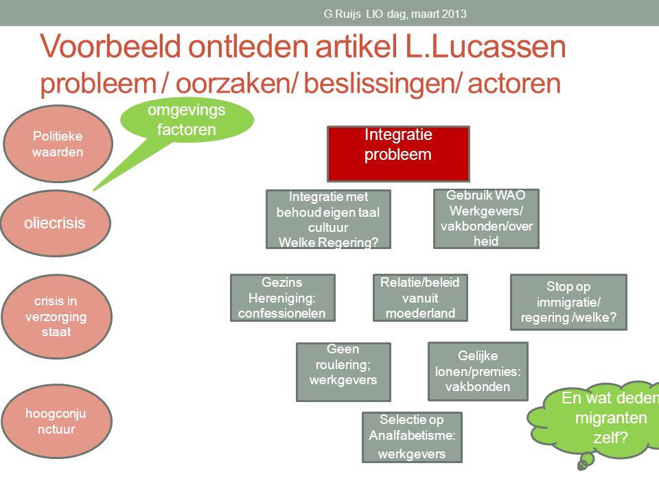G.Ruijs LIO dag, maart 2013 Voorbeeld ontleden artikel L.Lucassen probleem / oorzaken/ beslissingen/ actoren.