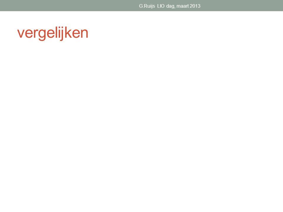 G.Ruijs LIO dag, maart 2013 vergelijken
