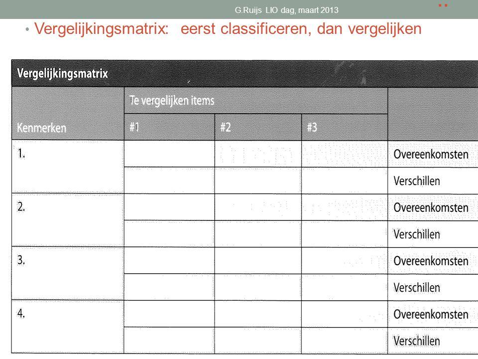 .. Vergelijkingsmatrix: eerst classificeren, dan vergelijken