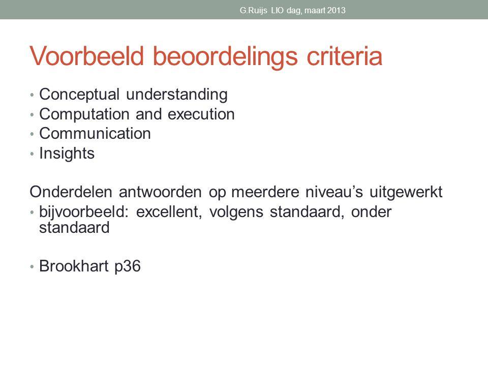 Voorbeeld beoordelings criteria
