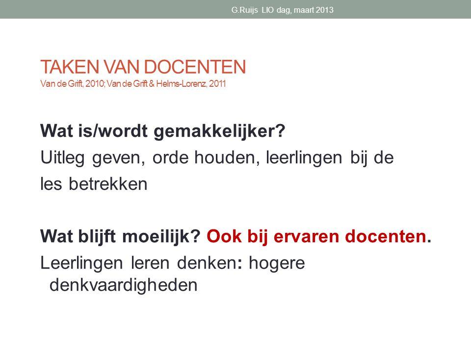 G.Ruijs LIO dag, maart 2013 TAKEN VAN DOCENTEN Van de Grift, 2010; Van de Grift & Helms-Lorenz, 2011.