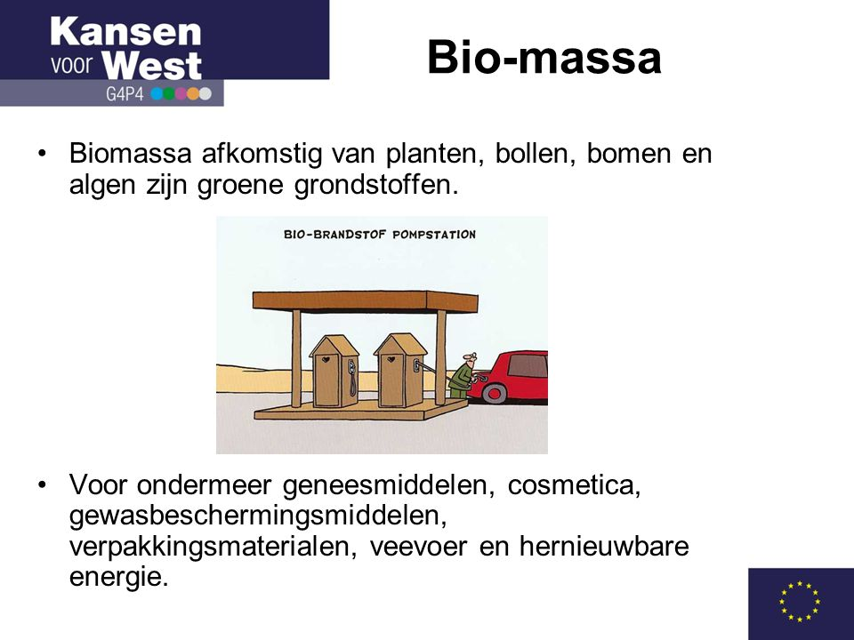 Bio-massa Biomassa afkomstig van planten, bollen, bomen en algen zijn groene grondstoffen.