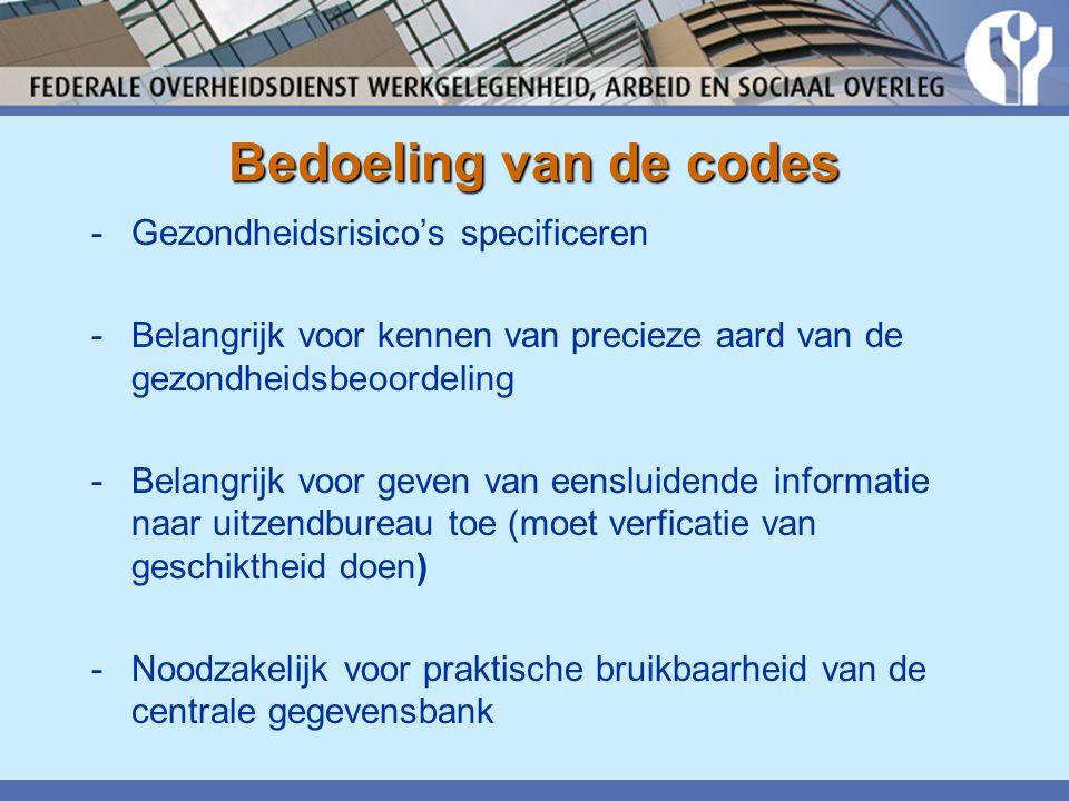 Bedoeling van de codes Gezondheidsrisico's specificeren