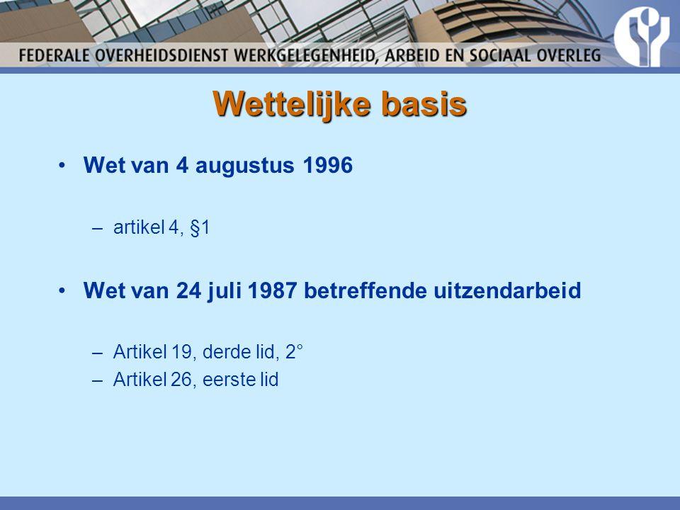 Wettelijke basis Wet van 4 augustus 1996