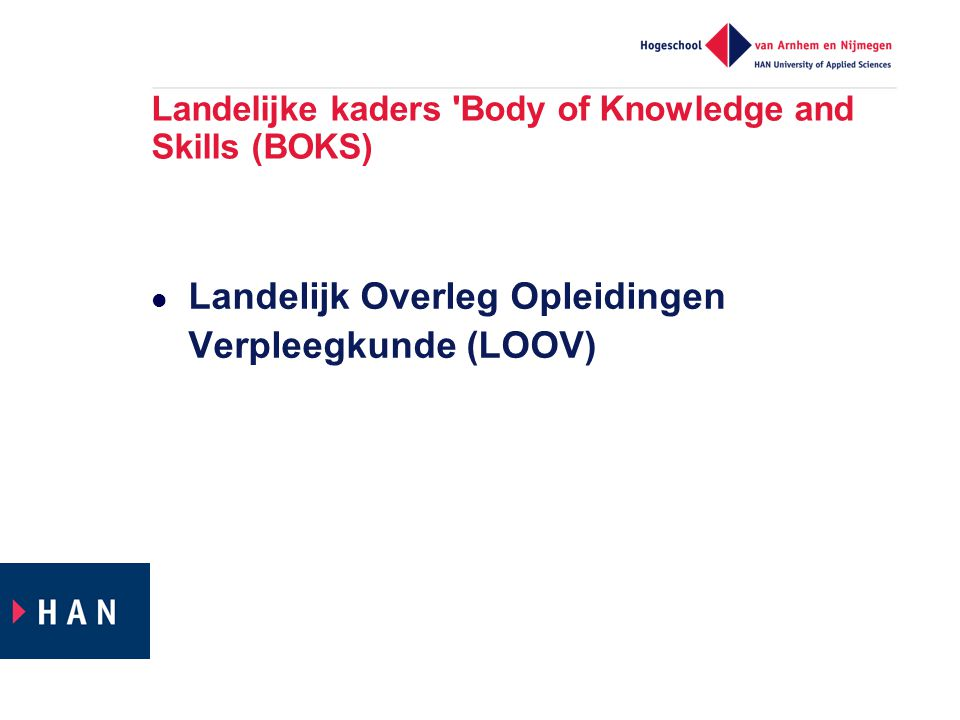 Landelijke kaders Body of Knowledge and Skills (BOKS)
