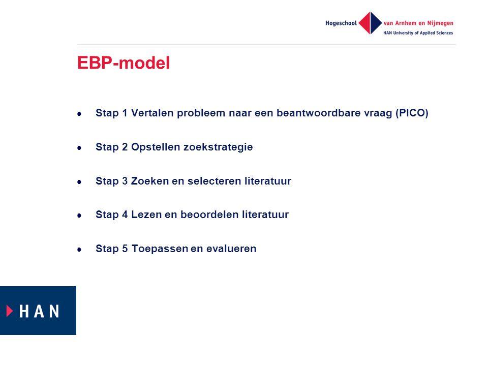 EBP-model Stap 1 Vertalen probleem naar een beantwoordbare vraag (PICO) Stap 2 Opstellen zoekstrategie.