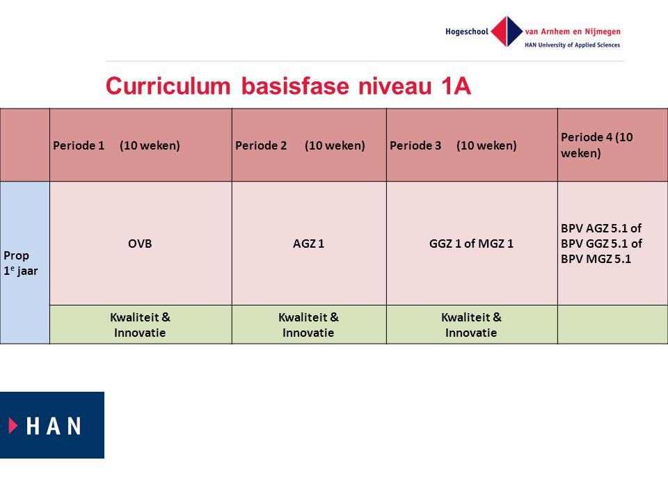 Curriculum basisfase niveau 1A