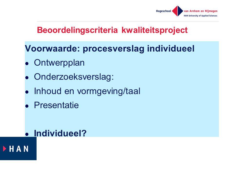 Beoordelingscriteria kwaliteitsproject