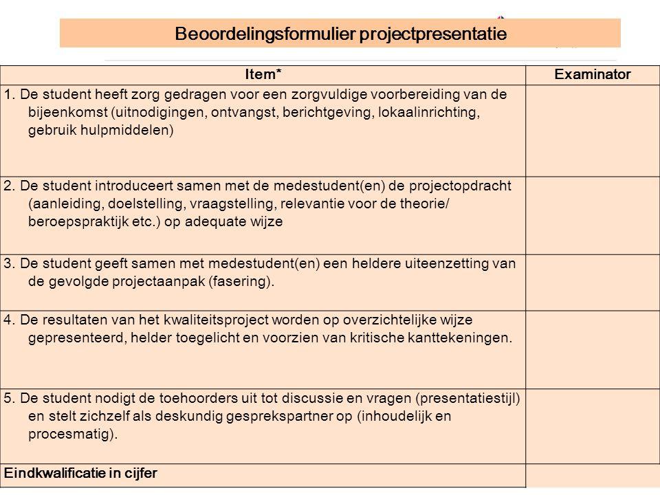 Beoordelingsformulier projectpresentatie