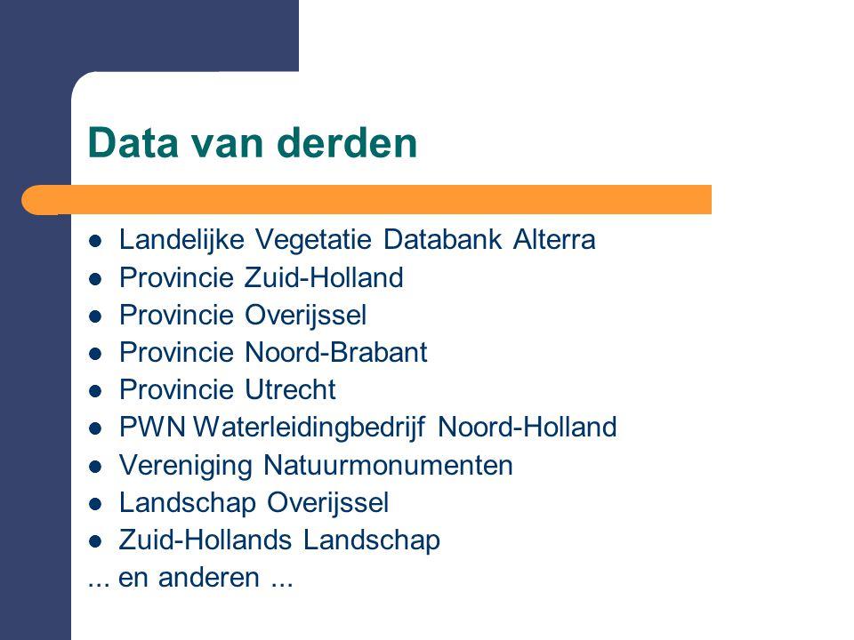 Data van derden Landelijke Vegetatie Databank Alterra