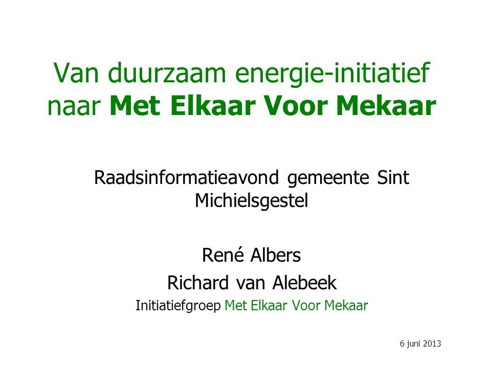 Van duurzaam energie-initiatief naar Met Elkaar Voor Mekaar