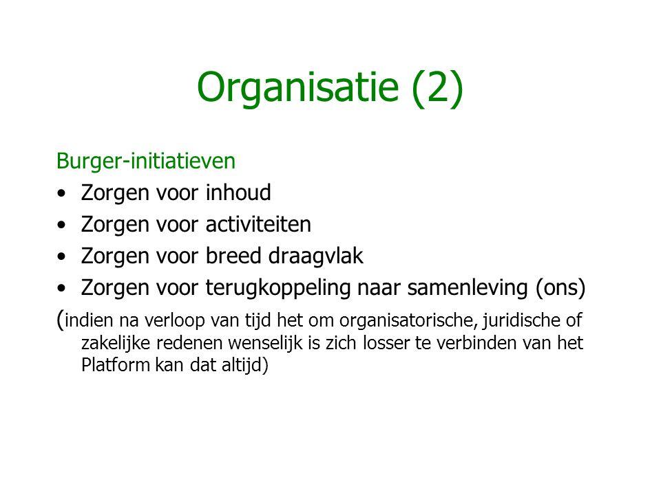 Organisatie (2) Burger-initiatieven Zorgen voor inhoud