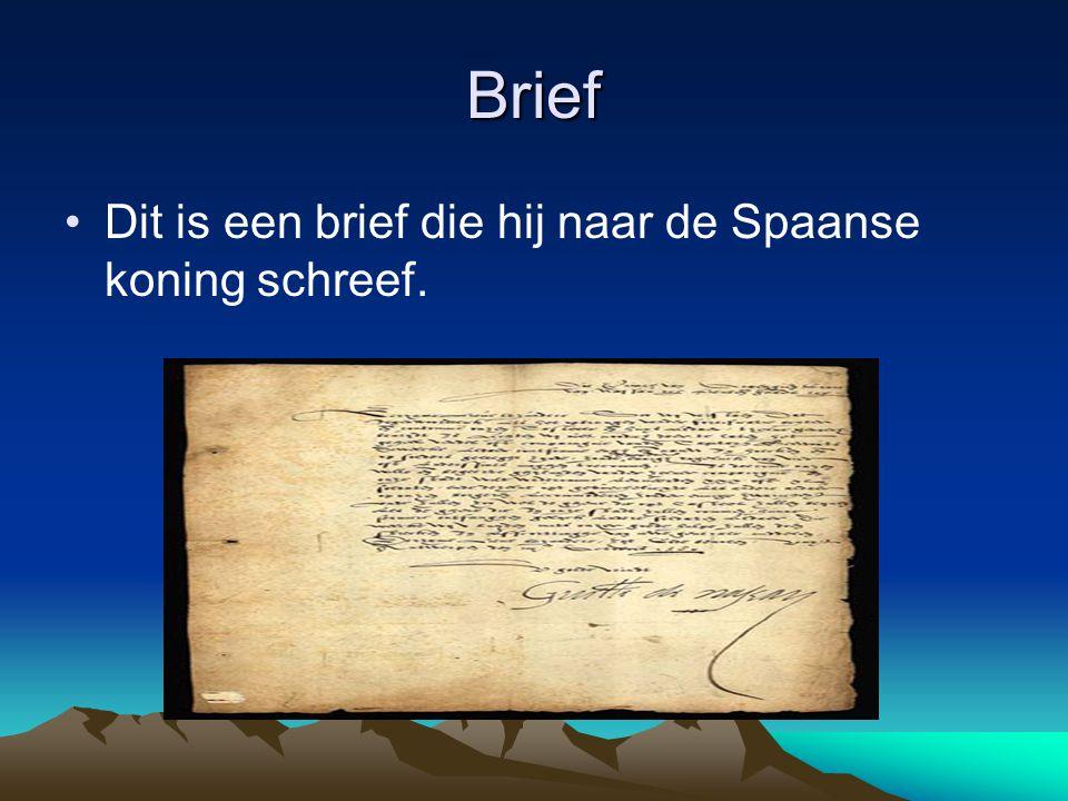 Brief Dit is een brief die hij naar de Spaanse koning schreef.