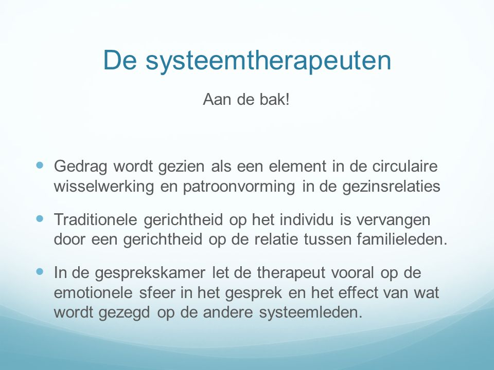 De systeemtherapeuten
