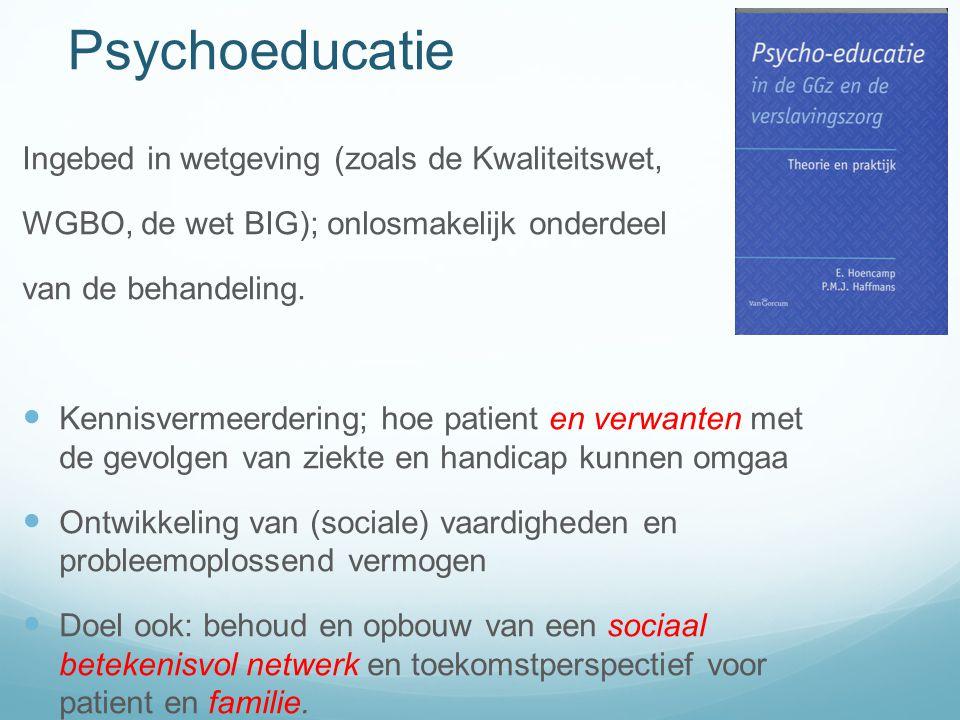Psychoeducatie Ingebed in wetgeving (zoals de Kwaliteitswet,
