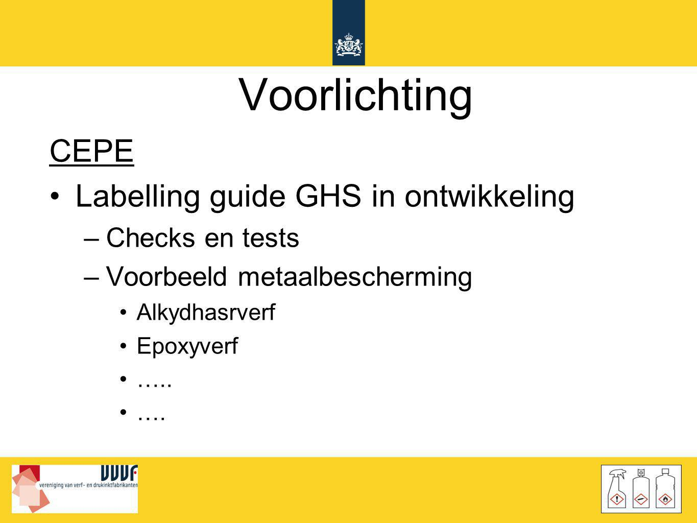 Voorlichting CEPE Labelling guide GHS in ontwikkeling Checks en tests