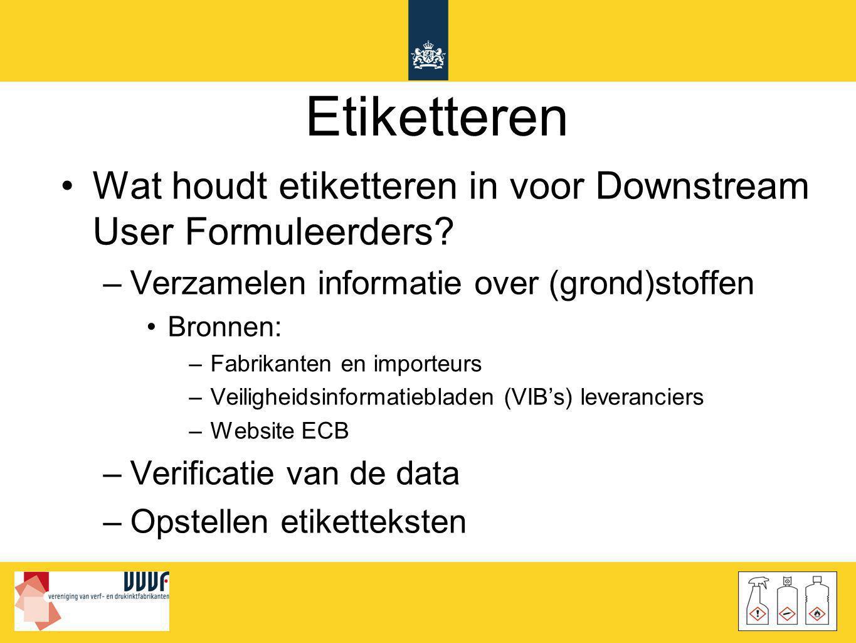 Etiketteren Wat houdt etiketteren in voor Downstream User Formuleerders Verzamelen informatie over (grond)stoffen.