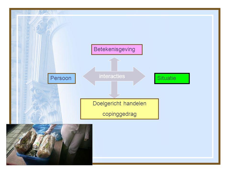 Betekenisgeving interacties Persoon Interacties Situatie Doelgericht handelen copinggedrag