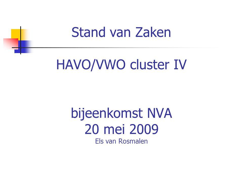 Stand van Zaken HAVO/VWO cluster IV bijeenkomst NVA 20 mei 2009 Els van Rosmalen